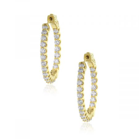 14k Yellow Gold 5.27ctw Diamond Inside Out Hoops