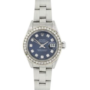 Rolex 79174 Datejust Diamond Bezel and Diamond Blue Dial Stainless Steel Watch