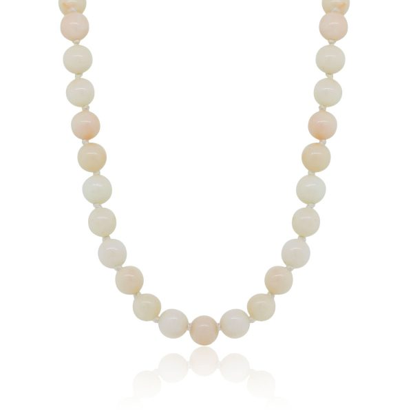 14k Yellow Gold 8mm Coral Bead Necklace