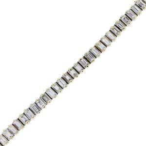18k Yellow Gold 5.80ctw Baguette Diamond Tennis Bracelet