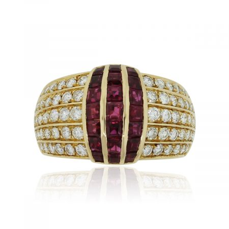 18k Yellow Gold 1ctw Diamond and 0.56ctw Ruby Cocktail Ring