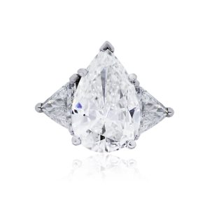 Platinum 6.19ct GIA Certified Pear Shape Diamond Engagement Ring