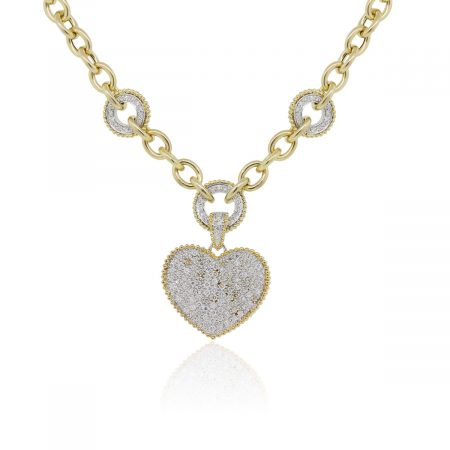 14k Yellow Gold 3ctw Diamond Heart Station Toggle Necklace