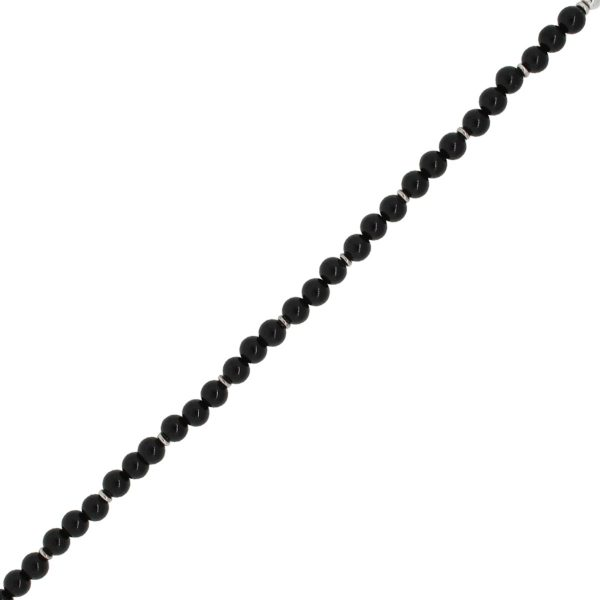 Gucci Sterling Silver 5mm Onyx Bead Toggle Bracelet