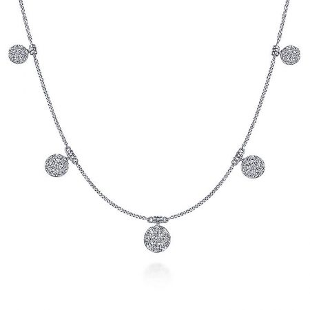 Gabriel & Co. 14k White Gold 0.50ctw Diamond Circle Cluster Choker Necklace
