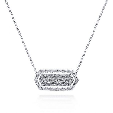 Gabriel & Co. 14k White Gold 0.89ctw Pave Diamond Hexagonal Bar Pendant Necklace