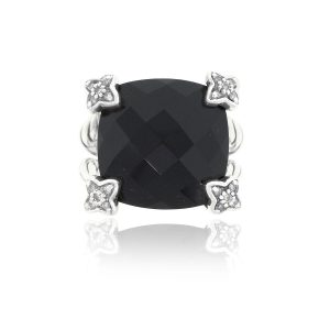 David Yurman Sterling Silver Onyx Chatelaine Ring