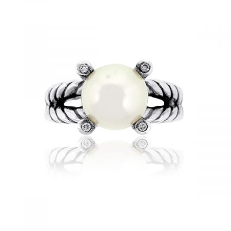 David Yurman Sterling Silver Pearl & Diamond Cable Ring