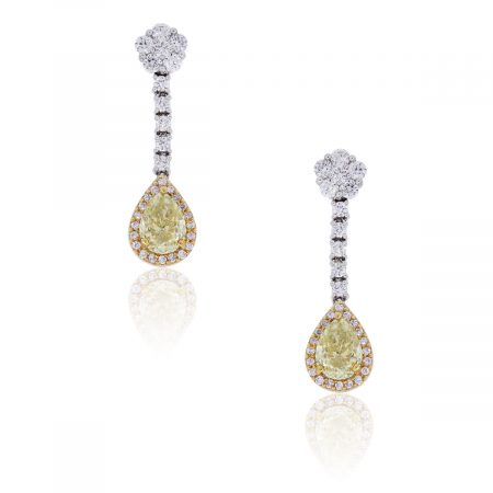 18k Two Tone Gold 2.80ctw Pear Shape and Round Brilliant Diamond Dangle Earrings