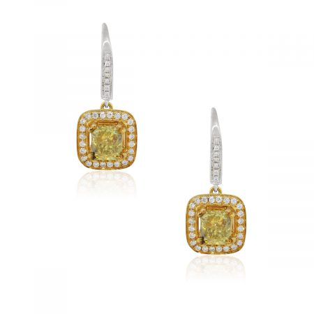 18k Yellow Gold 1.01ctw Fancy Color Diamond Halo Dangle Earrings