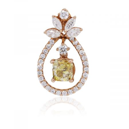 18k Rose Gold 1.01ct Cushion Cut GIA Certified and 0.57ctw Diamond Pendant