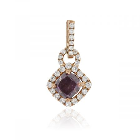 18k Rose Gold 0.83ct Fancy Pink Purple GIA Certified Diamond Pendant