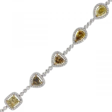18k White Gold 10.57ctw Fancy Shape Diamond Bracelet
