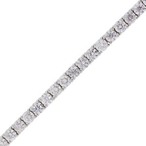 18k White Gold 9.29ctw Round Brilliant Diamond Tennis Bracelet