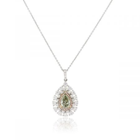18k White Gold 1.75ct GIA Certified Pear Shape Diamond Pendant Necklace