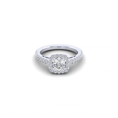 Gabriel 14k White Gold 0.58ctw Diamond Cushion Cut Halo Engagement Ring