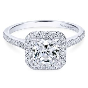 Gabriel & Co. 14k White Gold 0.37ctw Diamond Halo Engagement Ring