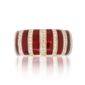 18k Rose Gold 0.52ctw Round Diamond Red Enamel Wide Striped Band