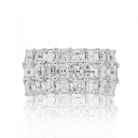18k White Gold 6.16ctw Asscher Cut Diamond Three Row Band