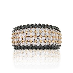 18k Rose Gold 2.2ctw White & Black Diamond Wide Band