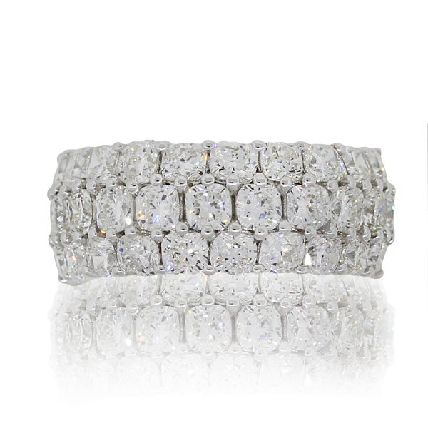 18k White Gold 4.64ctw Cushion Cut Diamond Three Row Wide Band