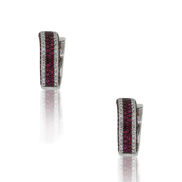 18k White Gold 1.85ct Round Diamond Large Huggie Earrings