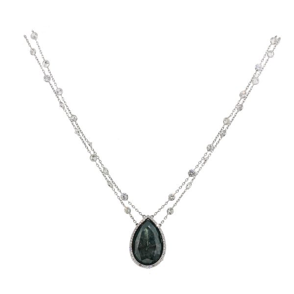 18k White Gold 36ctw Diamonds By The Yard Pendant Necklace