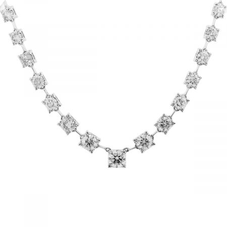 18k White Gold 40.5ctw Round Diamond Graduated Necklace