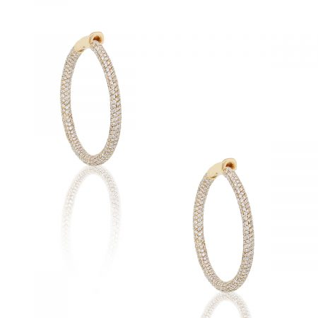 18k Rose Gold 6.9ctw Round Diamond Pave Hoop Earrings