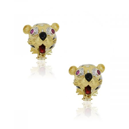 18k Yellow Gold 0.15ctw Diamond and Multi Colored Stone Tiger Clip On Earrings