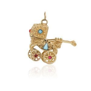 14k Yellow Gold Turquoise and Pearl Baby Carriage Charm