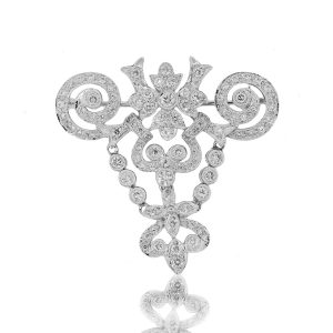 18k White Gold 1.50ctw Pave and Bezel Set Diamond Scroll Pin