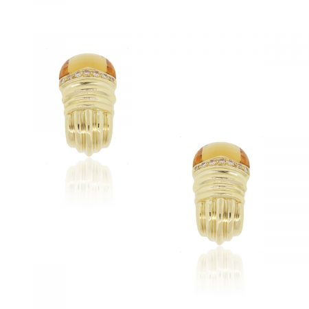 18k Yellow Gold 0.50ctw Diamond and Citrine Earrings