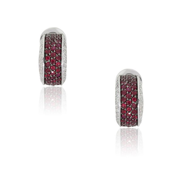 18k White Gold 1.47ctw Ruby and 0.80ctw Diamond Huggie Earrings