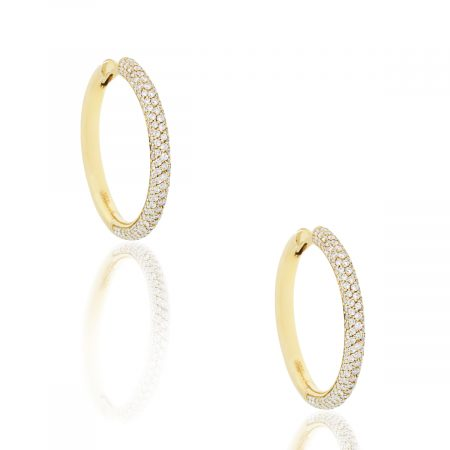 18k Yellow Gold 1.70ctw Diamond Hoop Earrings