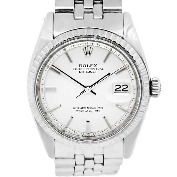 Rolex 1503 Datejust Silver Pie Pan Stick Dial Stainless Steel Watch