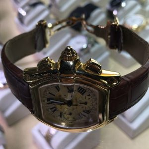Gold Cartier Roadster chronograph, secondhand Cartier, Cartier watches Boca