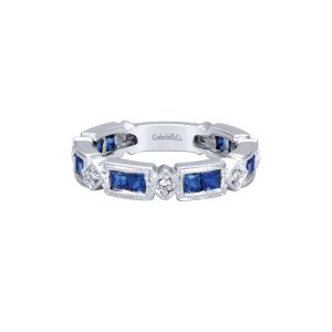 Gabriel & Co. 14k White Gold 0.13ct Diamond With Sapphire Ring