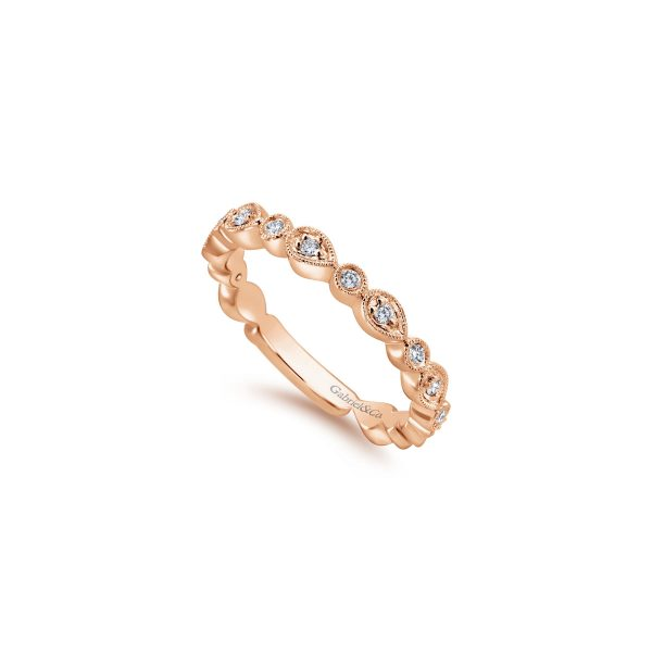Gabriel & Co. 14k Rose Gold 0.18ctw Diamond Stackable Ladies Ring