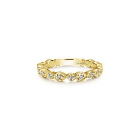 Gabriel & Co. 14k Yellow Gold 0.18ctw Diamond Stackable Ladies Ring