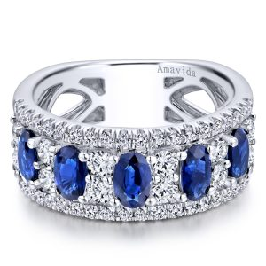 Gabriel & Co. 18k White Gold 1ctw Round Brilliant Diamond and 1.57ctw Oval Sapphire Band
