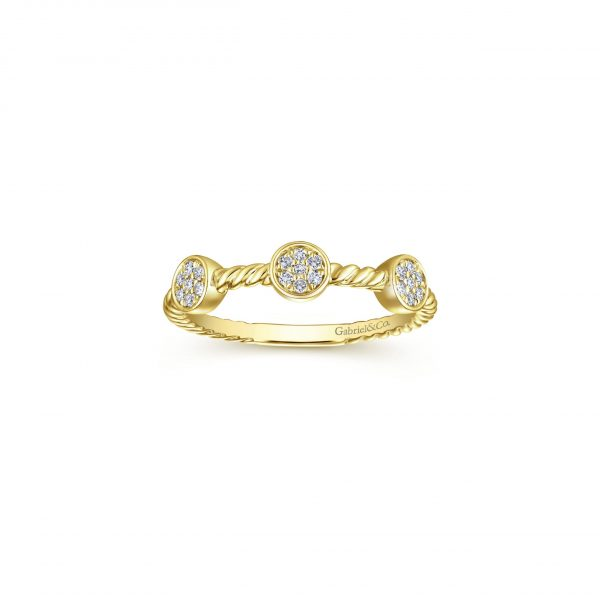 Gabriel & Co. 14k Yellow Gold 0.11ctw Diamond Stackable Ladies Ring
