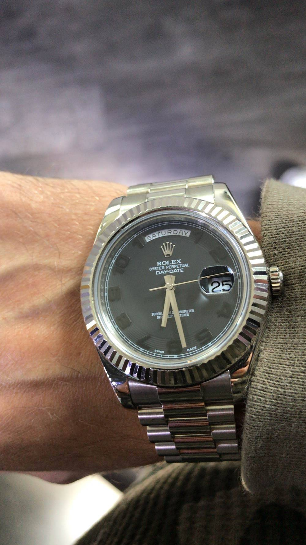 Day Date Ii President Review White Gold Black Dial Ref
