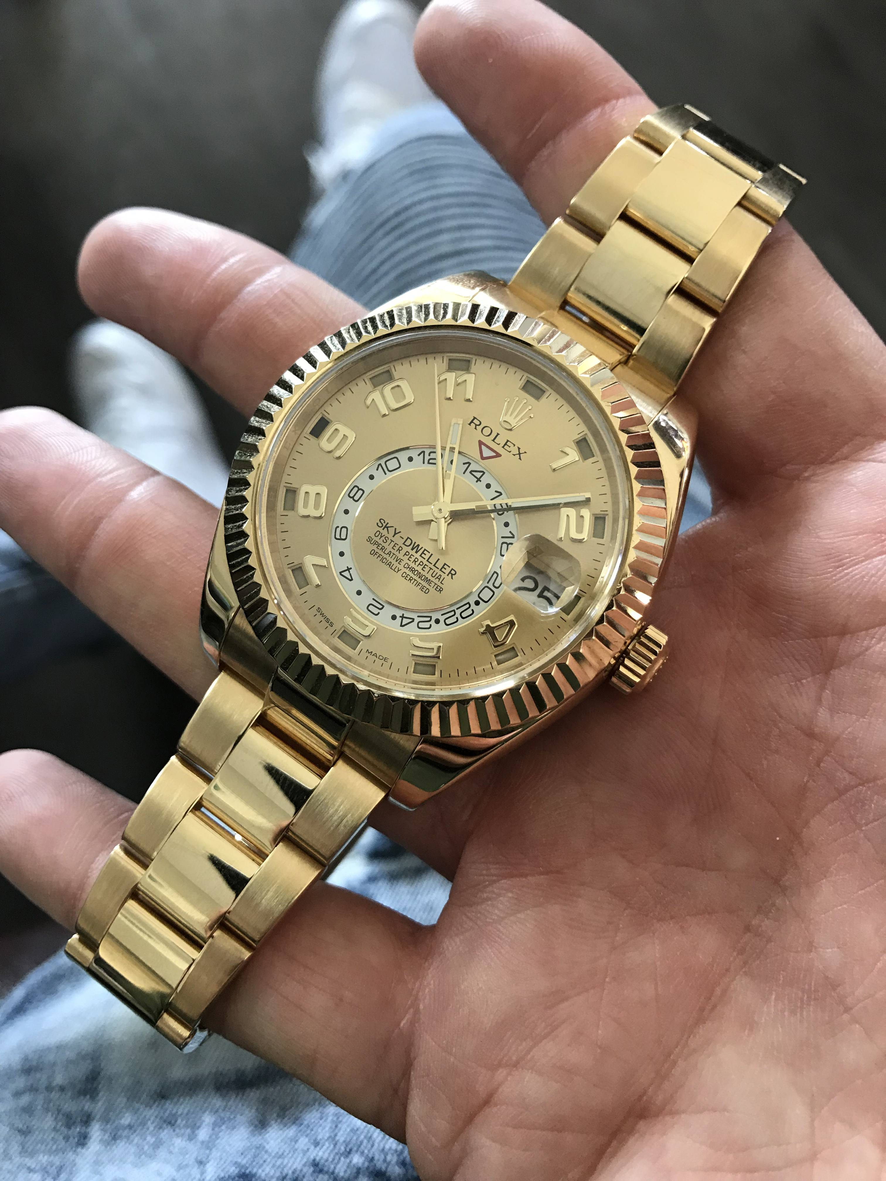 Rolex Sky Dweller Review \u2013 18k Yellow Gold with Champagne Dial