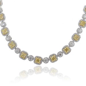 18K White Gold 13.62ct Cushion Cut Fancy Yellow GIA Necklace