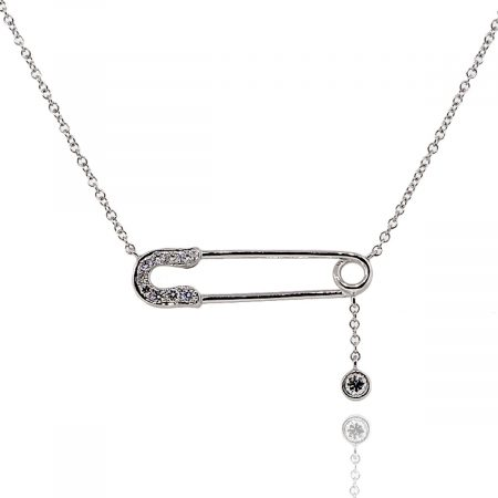 14k White Gold 0.15ctw Diamond Pave Safety Pin Pendant On Chain