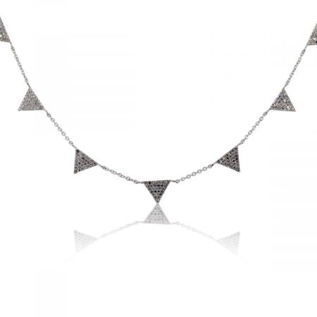 14k White Gold 0.43ctw Diamond Triangle Pave Necklace