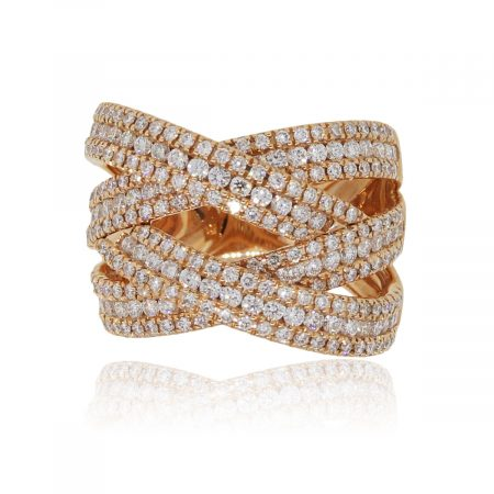 18k Rose Gold 2.47ctw Diamond Criss Cross Band