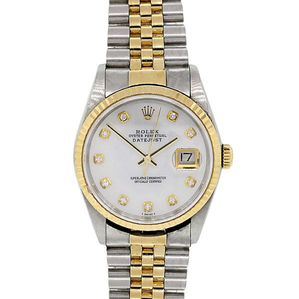 Rolex 16233 Datejust MOP Diamond Dial Two Tone Watch