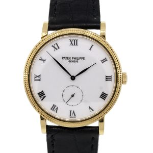 Patek Philippe 3919 Calatrave 18k Yellow Gold on Black Leather Watch